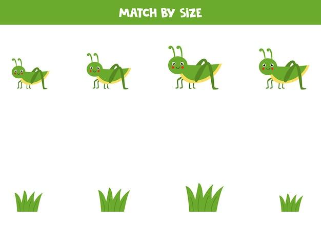Gra w dopasowywanie dla dzieci w wieku przedszkolnym. dopasuj konik polny i trawę według rozmiaru.