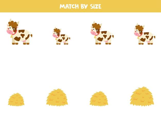 Gra w dopasowywanie dla dzieci w wieku przedszkolnym. dopasuj krowy i stosy siana według rozmiaru.