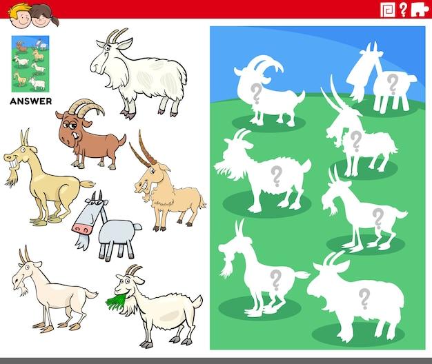 Gra w dopasowywanie kształtów z postaciami z kreskówek kóz