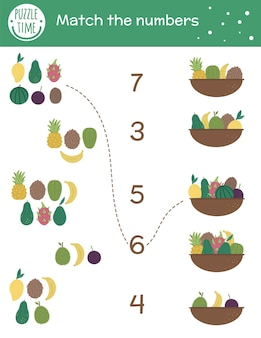 Gra w dopasowywanie z koszami i egzotycznymi owocami. tropikalna aktywność matematyczna dla dzieci w wieku przedszkolnym. arkusz liczenia zwrotników. edukacyjna zagadka z uroczymi zabawnymi elementami.