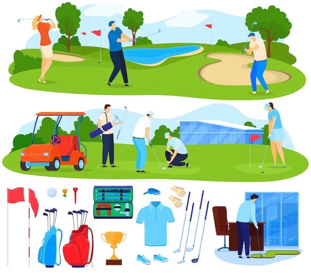 Gra w golfa wektor zestaw ilustracji. płascy aktywni gracze z kreskówek grają w grę na trawie, postać golfisty uderzająca piłkę maczugą