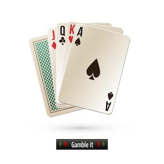 Gra w karty na białym tle