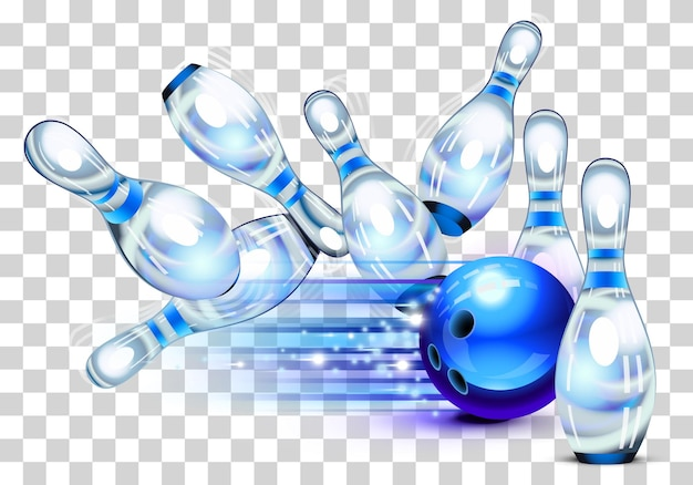 Gra w kręgle, niebieska kula do kręgli uderzająca w kręgle