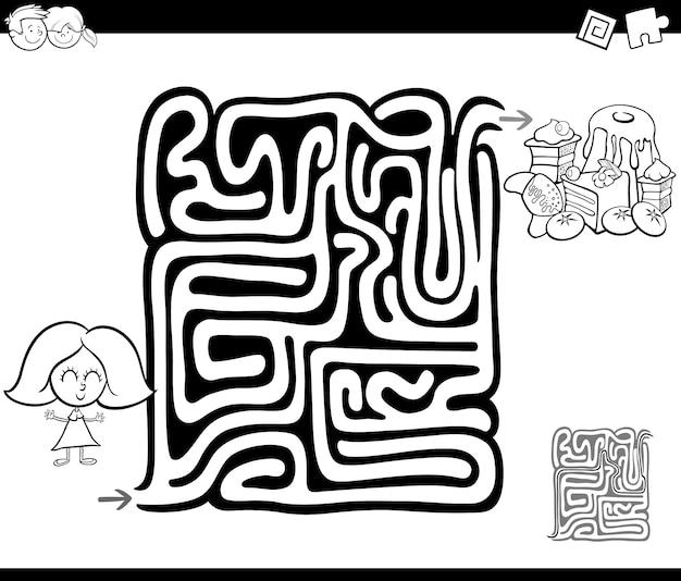 Gra w labirynt z dziewczyną i słodyczami