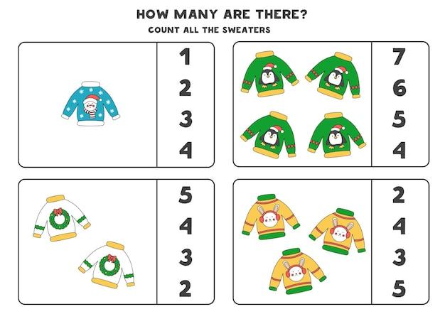 Gra w liczenie ze świątecznymi swetrami. arkusz edukacyjny.