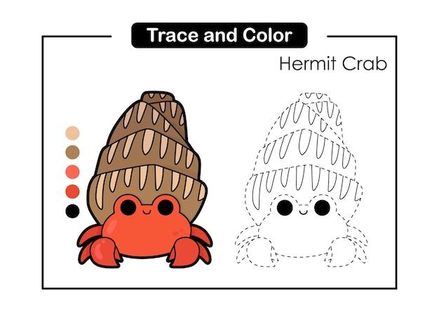 Gra w śledzenie i kolorowanie dla dzieci z uroczym życiem morskich zwierząt krab pustelnik