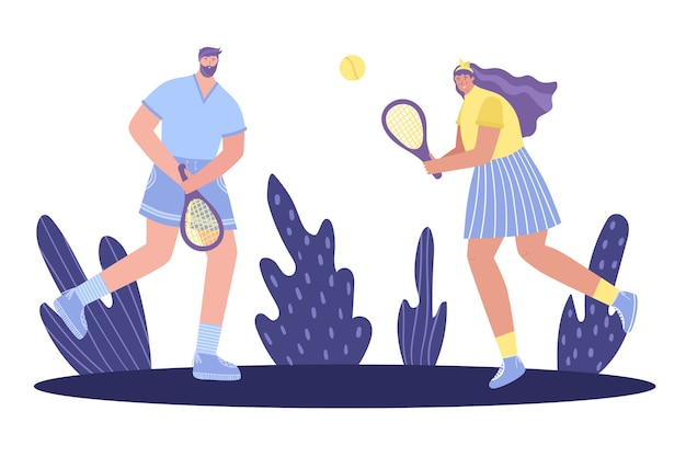 Gra w tenisa. mężczyzna i kobieta grają w tenisa.
