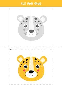 Gra w wycinanie i klejenie dla dzieci. ilustracja kreskówka leopard twarz. ćwiczenie cięcia dla przedszkolaków. arkusz edukacyjny dla dzieci.