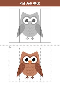 Gra w wycinanie i klejenie dla dzieci. ilustracja kreskówka sowa. ćwiczenie cięcia dla przedszkolaków. arkusz edukacyjny dla dzieci.