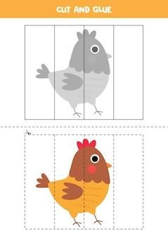Gra w wycinanie i klejenie dla dzieci. ilustracja ładny kura gospodarstwa. ćwiczenie cięcia dla przedszkolaków. arkusz edukacyjny dla dzieci.