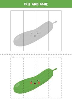 Gra w wycinanie i klejenie dla dzieci. ilustracja ładny zielony ogórek. ćwiczenie cięcia dla przedszkolaków. arkusz edukacyjny dla dzieci.