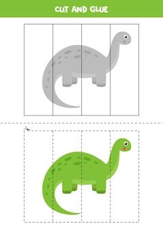 Gra w wycinanie i klejenie dla dzieci. ładny zielony dinozaur. ćwiczenie cięcia dla przedszkolaków. arkusz edukacyjny dla dzieci.