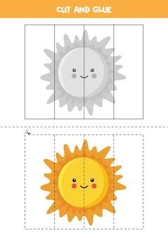 Gra w wycinanie i klejenie dla dzieci. rysunek, słońce. ćwiczenie cięcia dla przedszkolaków. arkusz edukacyjny dla dzieci.
