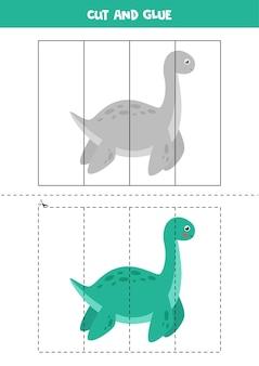 Gra w wycinanie i klejenie dla dzieci. śliczny dinozaur. ćwiczenie cięcia dla przedszkolaków. arkusz edukacyjny dla dzieci.
