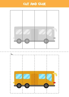 Gra w wycinanie i klejenie dla dzieci z kreskówkowym autobusem. ćwiczenie cięcia dla przedszkolaków.