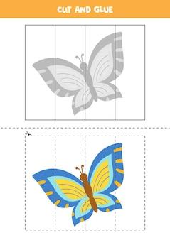 Gra w wycinanie i klejenie dla dzieci z uroczym motylem. ćwiczenie cięcia dla przedszkolaków.