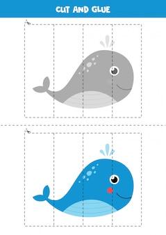 Gra w wycinanie i klejenie z uroczym wielorybem.