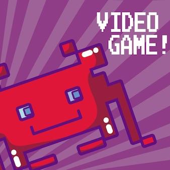 Gra wideo piksele wroga wektorowy ilustracyjny graficzny projekt
