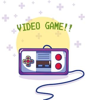 Gra wideo retro gamepad wektorowy ilustracyjny graficzny projekt