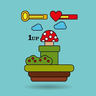 Gra wideo terenowy grzybkowy postęp życia platformy