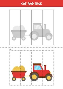 Gra z cięciem i klejeniem dla dzieci z ciągnikiem rolniczym. praktyka cięcia dla przedszkolaków.