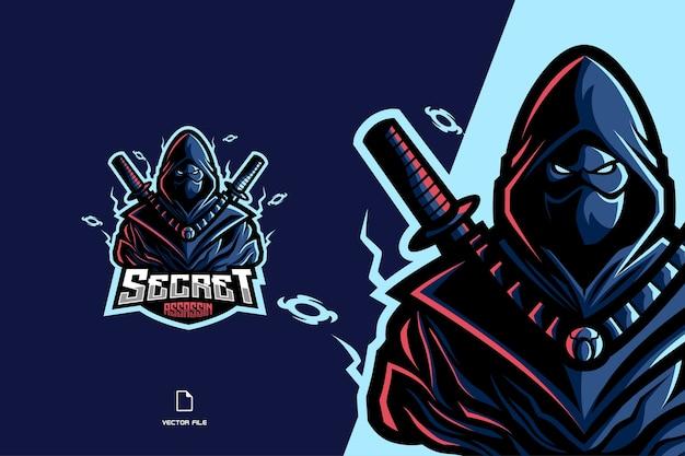 Gra z logo maskotki ninja assassin dla ilustracji zespołu sportowego i esportowego