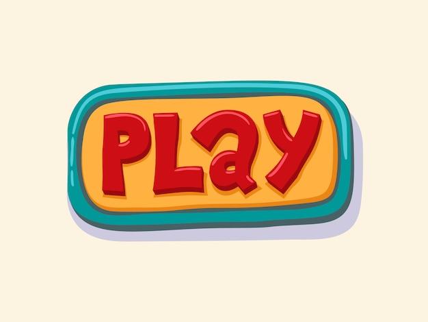 Grać. ręcznie rysowane przycisk internetowych. ilustracji wektorowych