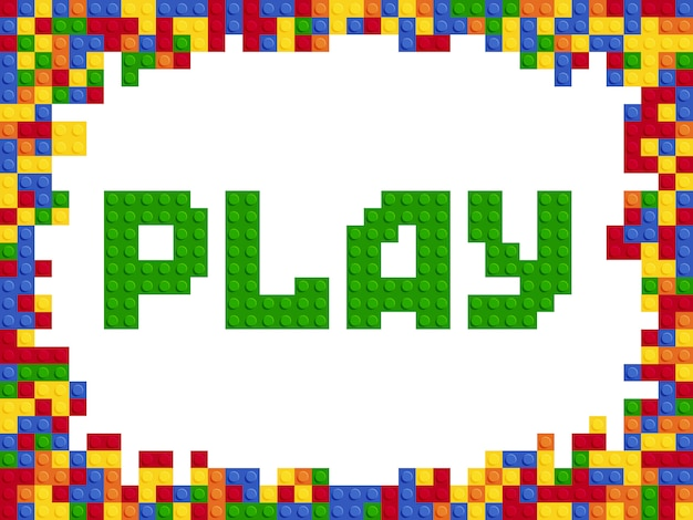 Grać słowo plastikowy kolor konstruktora bloku szablonu płaski projekt