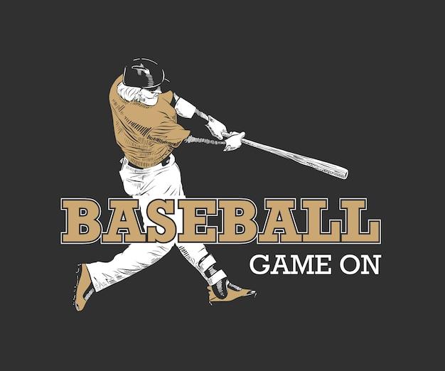 Gracz baseballa na czarnym tle