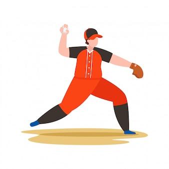 Gracz baseballa rzuca piłkę