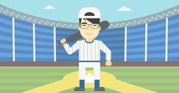 Gracz baseballa z nietoperza wektoru ilustracją.