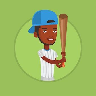 Gracz baseballa z nietoperzem.