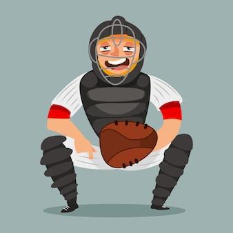 Gracz baseballowy łapacz. postać z kreskówki mężczyzny w masce, rękawiczkach, kasku i odzieży sportowej. ilustracja na białym tle.
