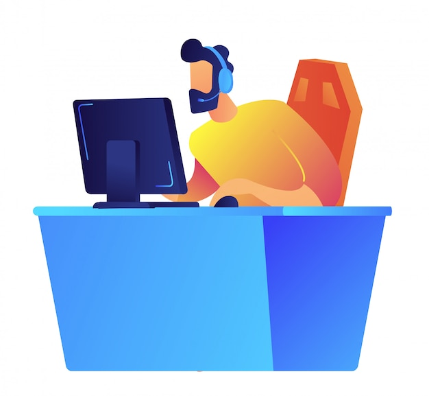 Gracz bawić się online wideo grę przy komputerową wektorową ilustracją.