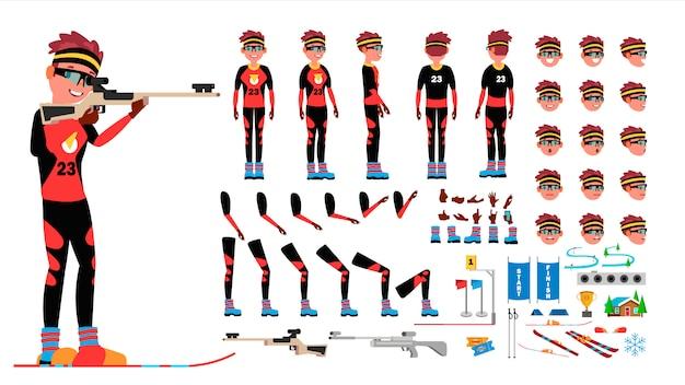 Gracz biathlon męski wektor. zestaw animowanych kreacji postaci. mężczyzna pełna długość, przód, bok, widok z tyłu, akcesoria, pozy, emocje twarzy, gesty. na białym tle płaski kreskówka