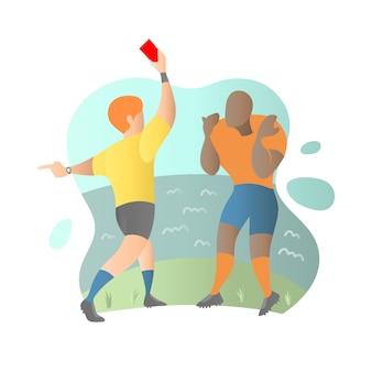 Gracz futbolu dostaje czerwoną kartkę od arbitra w płaskiej ilustraci