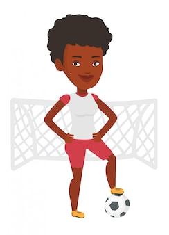 Gracz futbolu z balową wektorową ilustracją.