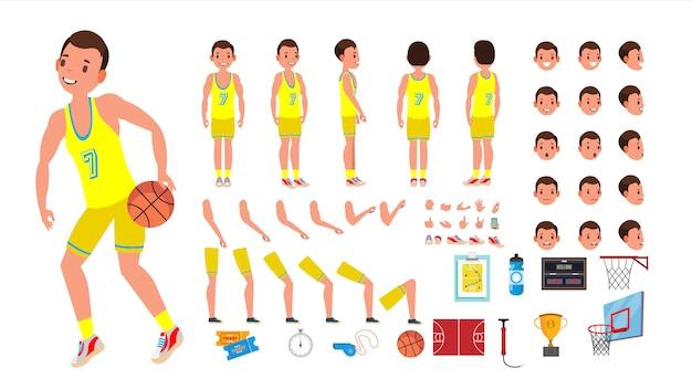 Gracz koszykówki zestaw animowanych postaci męskich. człowiek koszykówki. pełna długość, przód, bok, widok z tyłu, akcesoria, pozy, emocje twarzy. na białym tle płaski kreskówka