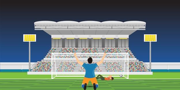 Gracz piłki nożnej świętuje cel