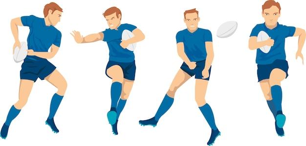 Gracz rugby walczy o piłkę na arenie