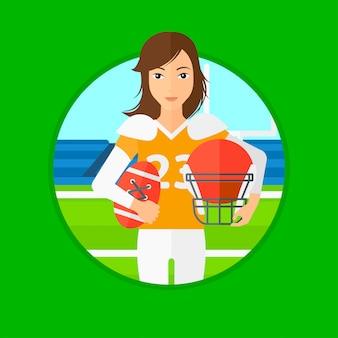 Gracz Rugby Z Piłką I Hełmem W Rękach. Premium Wektorów