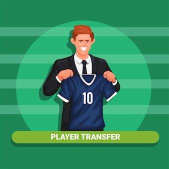 Gracz transfer sport sportowiec wprowadza nowy klub w konferencji prasowej symbol wektor ilustracja