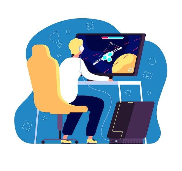 Gracz uprawiający sporty cybernetyczne. profesjonalny turniej e-sportowy, gracz przy komputerze z transmisją na żywo z gry wideo na monitorze