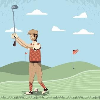Gracz w golfa na polu golfowym