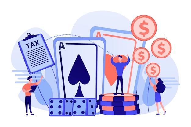 Gracz w pokera, szczęśliwy zwycięzca kasyna płaski wektor znaków