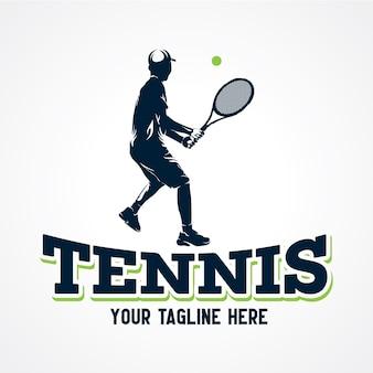 Gracz w tenisa loga wektor, premii sylwetki wektor