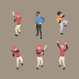 Gracze baseballu. sport ludzie biegający bazy dzban baseball wektor znaków izometryczny w pozach akcji. ilustracja gracza w baseball, miotacz i łapacz