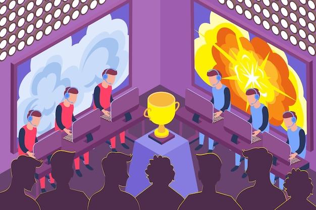 Gracze biorący udział w zawodach e-sportowych i złote trofeum w środku sali izometrycznej 3d