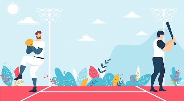 Gracze płci męskiej i mecz baseballowy na kortu cartoon