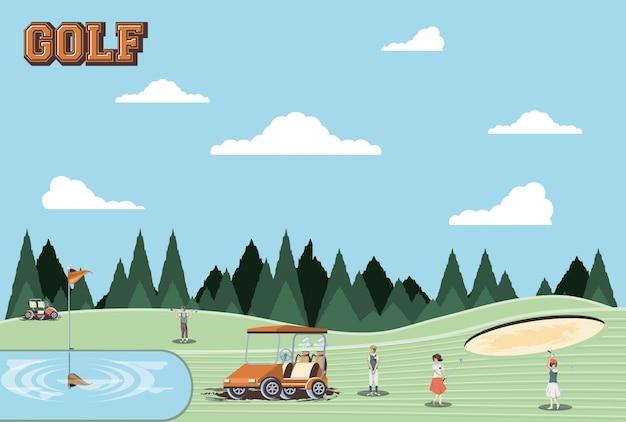 Gracze w golfa ludzie na polu